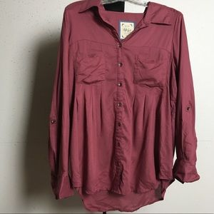 Style & Co Wine/Raspberry Button Down Blouse, NWT